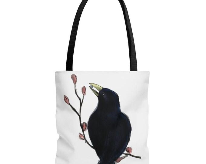 Ms. Mabel (Black Bird) Black Handle Tote Bag