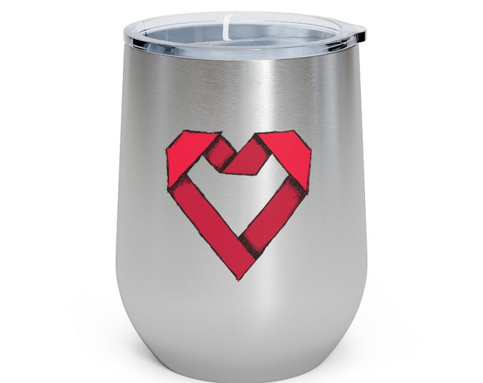 Paper Origami Heart: More ART | More Heart 12oz Insulated Wine Tumbler