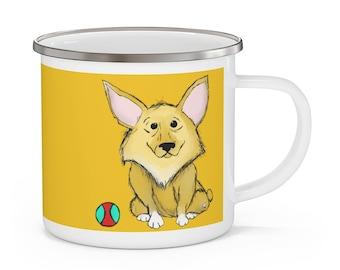 Caroline Enamel Yellow Mug with White Handle