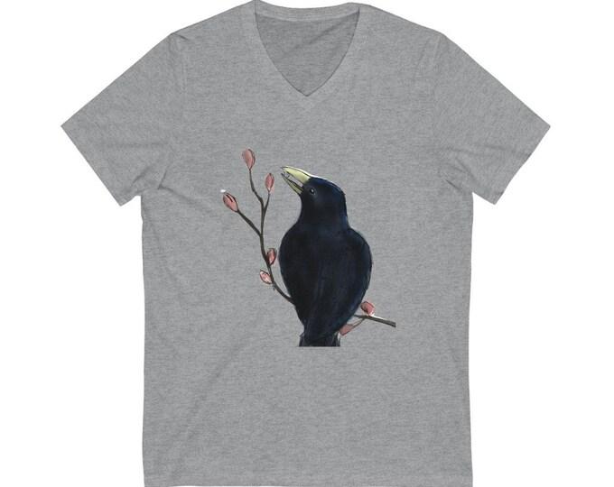 Ms. Mabel (Black Bird) Unisex Jersey Short Sleeve V-Neck Tee