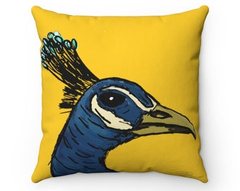 Sir James Peacock III : Golden Square Throw Pillow Cover + Insert