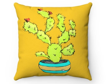 Blooming Cactus Yellow Square Throw Pillow Cover + Insert from the Sweet Tart Cactus Line
