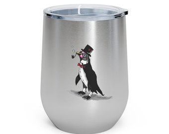 Mr. Bubbles with Origami Heart: 12oz Insulated Wine Tumbler