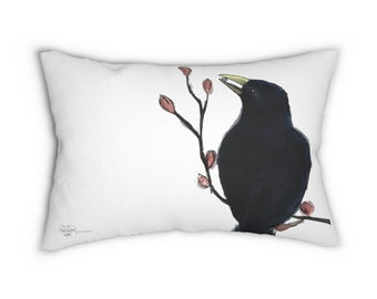 Ms. Mabel (crow) White Lumbar Pillow ( Cover + Insert)