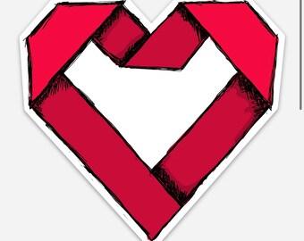 Red Origami Paper Heart Vinyl Sticker - shop logo