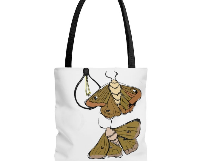 Moth Babies - White Box Bottom Black Handle Tote Bag