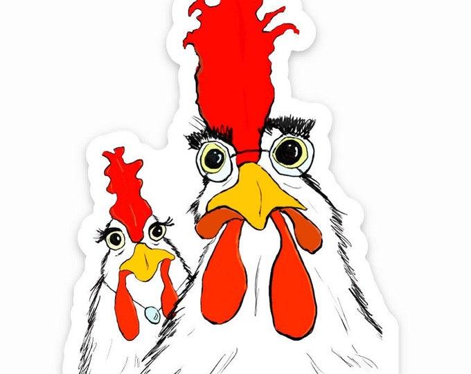 Eugene and Maura Chicken-vinyl die cut sticker