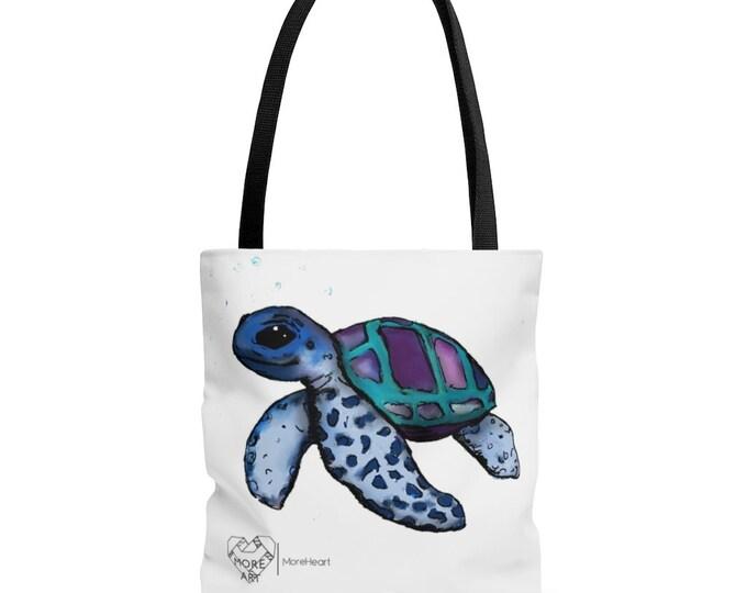 Janis (Sea Turtle) Black Handle Tote Bag