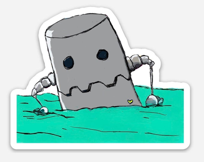 Sea Robot - vinyl die cut sticker