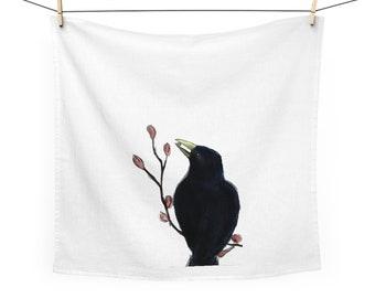 Ms. Mabel (black bird) White Cotton Tea Towel