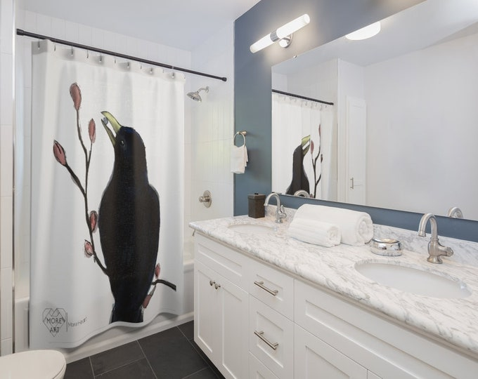 Ms. Mabel (black bird ) Shower Curtain