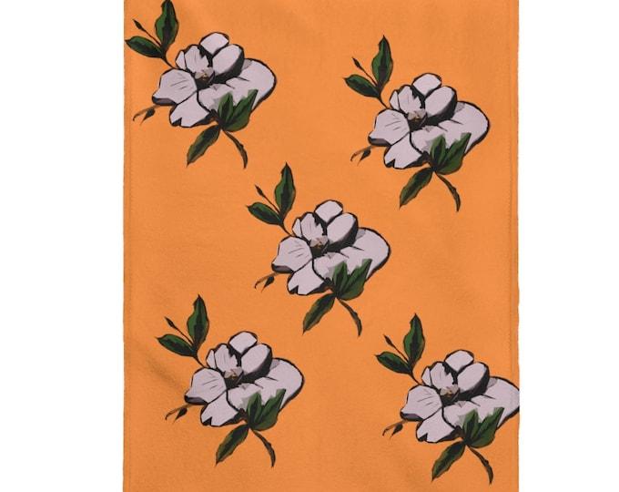Magnolia Orange Crush Velveteen Cozy Plush Blanket