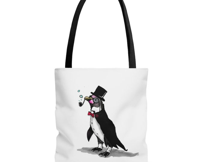 Sir. Bubbles (Penguin) -  Black Handle Tote Bag