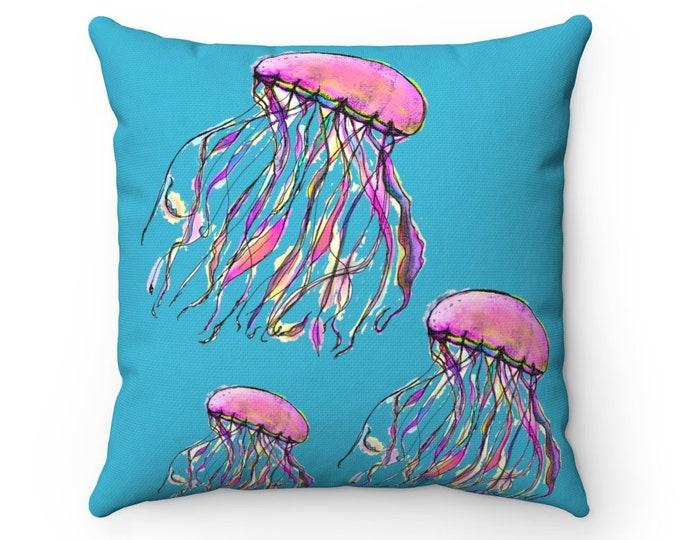 Zuri (Jelly fish) Brilliant Blue Square Pillow cover + insert