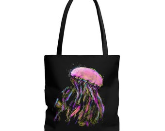 Zuri (jellyfish) Black Handle Tote Bag