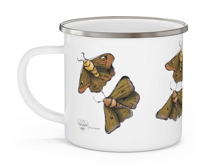 Moth Babies: White Enamel Campfire Mug