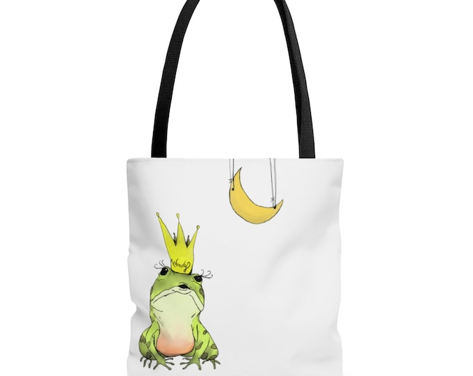 Wendy (frog and the moon) Black Handle Tote Bag