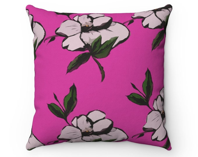 Maggie May - Square Pillow + Cover in Pink