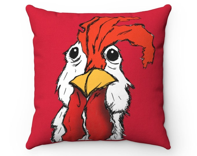 Mr. Chicken Perfect Square Pillow - Red (Pillow + Cover)