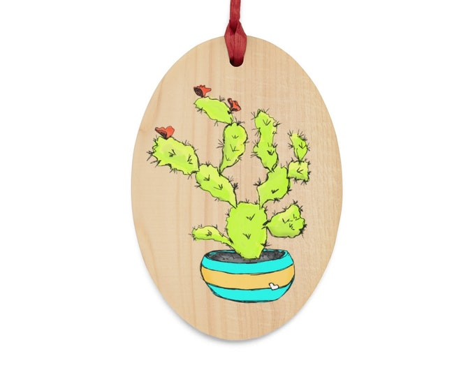 Sweet Tart Cactus Wooden Holiday Ornament