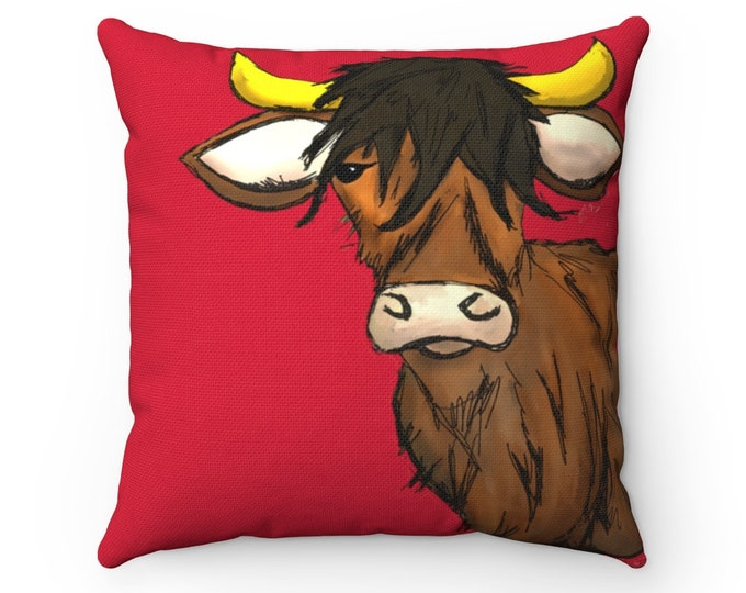 Hal - Saucy Bovine (Scottish Cow) Red Square Pillow Cover + Insert