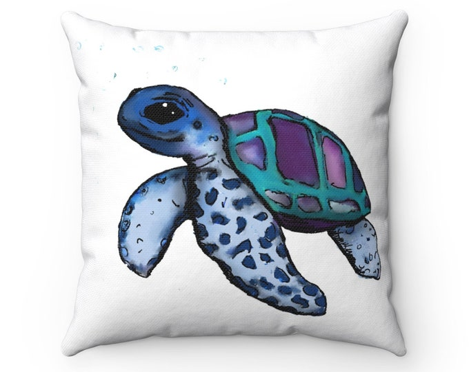 Janis (Sea Turtle) Square Pillow Cover + Insert
