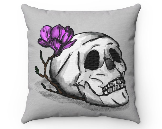 Clarice Skull with Flower  - Gray Square Throw Pillow Cover + Insert