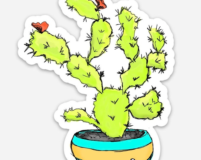 Blooming Cactus Vinyl Sticker from the Sweet Tart Blooming Cactus Line