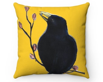 Ms. Mabel - Yellow Square Throw Pillow Cover + Insert