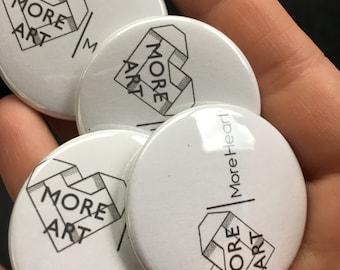 More ART | More Heart Logo buttons + Artist Buttons (3 logo buttons + 2 featured artist buttons)