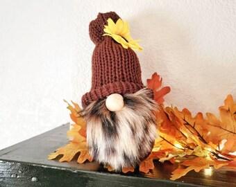 Fall Gnome, Fall Decor, Shelf Gnome, Pumpkin Gnome, Knit Gnome, Fall Colors, Gnomes, Autumn Decor, Leaves, Small Gnome, Tiered Tray Decor