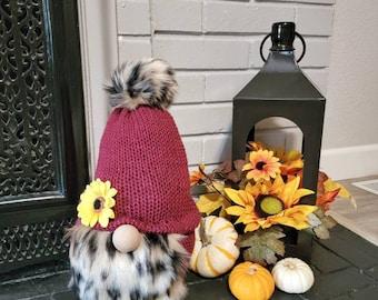 Fall Gnome, Fall Decor, Shelf Gnome, Pumpkin Gnome, Knit Gnome, Fall Colors, Gnomes, Autumn Decor, Leaves, Large Gnome