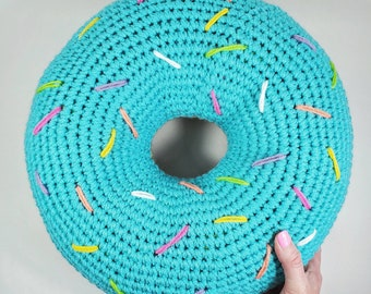 Donut Pillow, Giant Diant Plush, Food Pillow, Crocheted Donut, Knit Donut, Donuts, Sprinkles, Desserts, Bedroom Decor