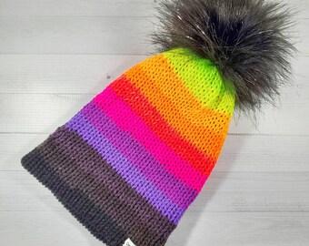 Evil Twin Beanie, Rainbow Beanie, Neon Hat, Knit Hat, Rainbow Striped Hat, Multicolor Hat, TikTok Hat