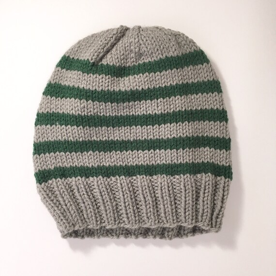 Teen-Adult Wizard House Hat   Knit Hat   Grey and Green  7aa8991e19a