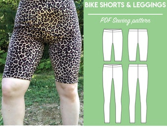 PDF High Waist Bike Shorts and Leggings Sewing Pattern | Sizes XS-5X | Instant download | Print at home on A4 and US Letter