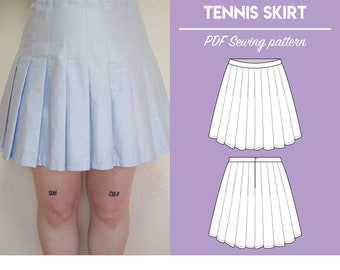Layered PDF High Waist Tennis Skirt Sewing Pattern | Sizes UK2-26/US00-22 | Instant download | Print at home on A4 and US Letter