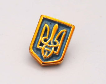 Ukrainian National Tryzub coat of arms screw back screwback breast badge UKRAINE flag colors