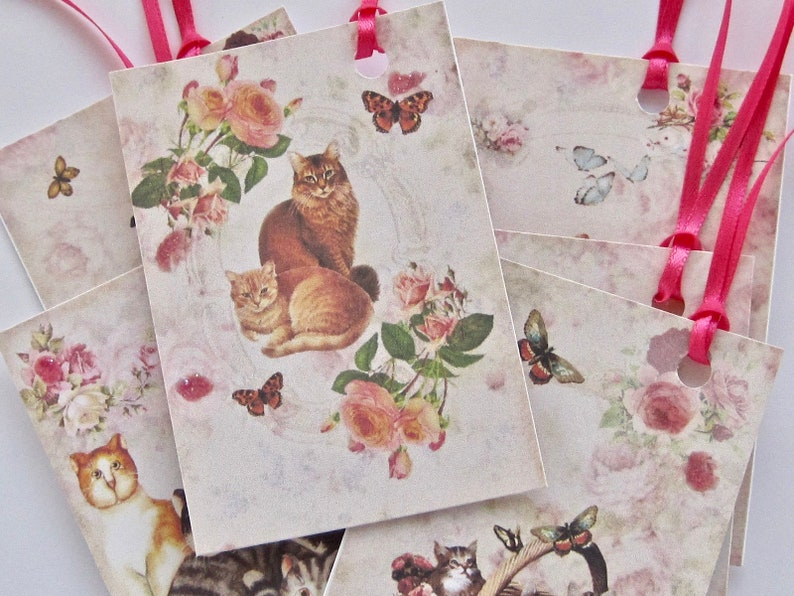 gift tags lot of 6 Kitty Cat Tags Wedding tags