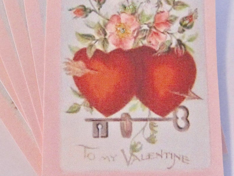 Birthday Wedding Valentine Hearts Gift Tags Thank You Hang Tags Lot of 6