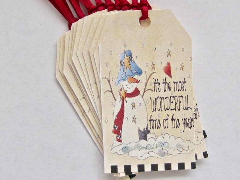 Christmas Winter Snowman Gift Tags Thank You Wedding Etsy