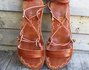 ROMAN Lace up Sandals/ tie up sandals/ ancient Greek sandals/ handmade flats/ leather sandals with imprints/ gladiator sandals