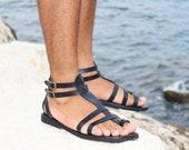 FASCINATION Men - leather sandals men gladiator Greek Roman style ankle straps toe ring sandals ancient greek men sandals