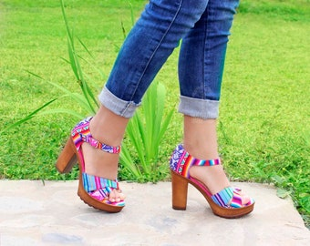 bfd6d9f108a AYMARA - Colorful Open Toe Heels Made With Peruvian Manta   Ankle Strap  Textile Shoes