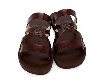 4b0b528860961e SPRING - classic sandals  flower strap handmade sandals  leather slides   boho sandals  vintage style comfortable slides