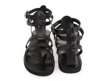 a3426bbbd2a7 FASCINATION - Women leather sandals  gladiator Greek Roman style  ankle straps  toe ring sandals  ancient Greek sexy sandals