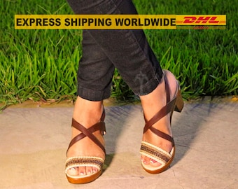 a31a69bf6ba LISA - heeled leather sandals  artisan sandals with braids  sexy Summer  strappy sandals  short platform sandals  brown sandals