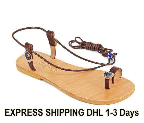 gran venta 8c684 677c7 INDIGO sandalias Descalzas/sandalias minimalistas/sandalias de piel hechas  a mano/segundero anillo de encaje de las sandalias/Toe anillos planos
