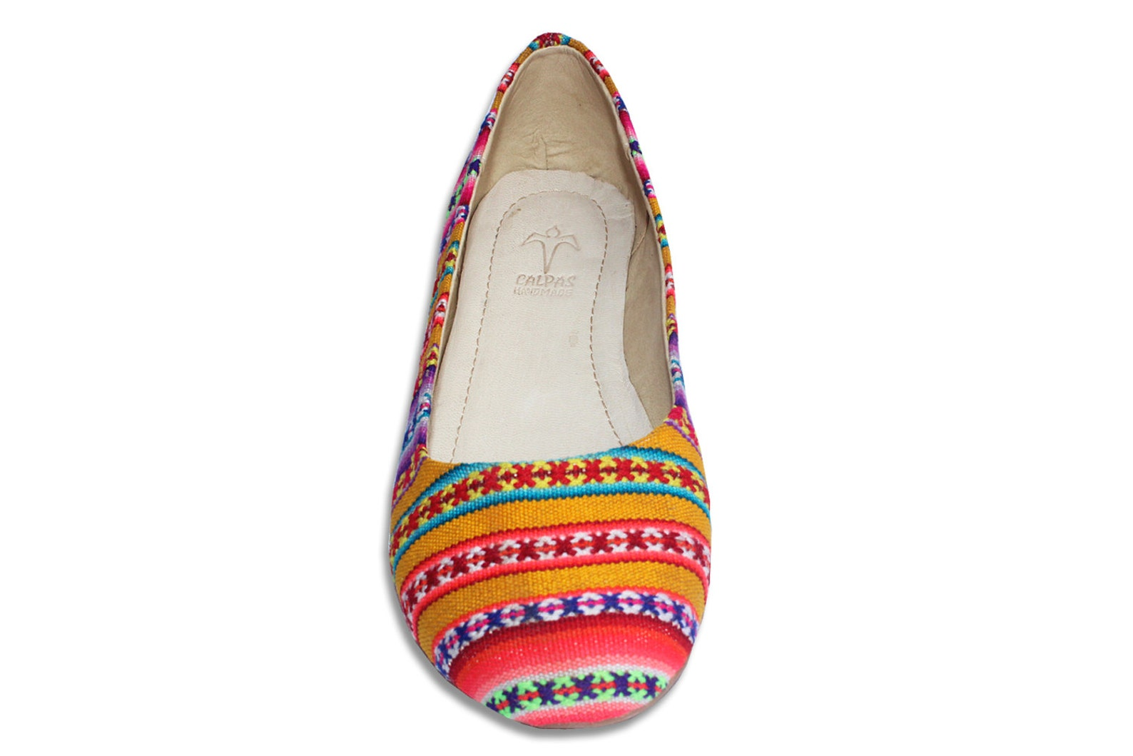 colorful ballerina shoes, ethnic linen, ballet flats with super soft soles, women slip on shoes - fany