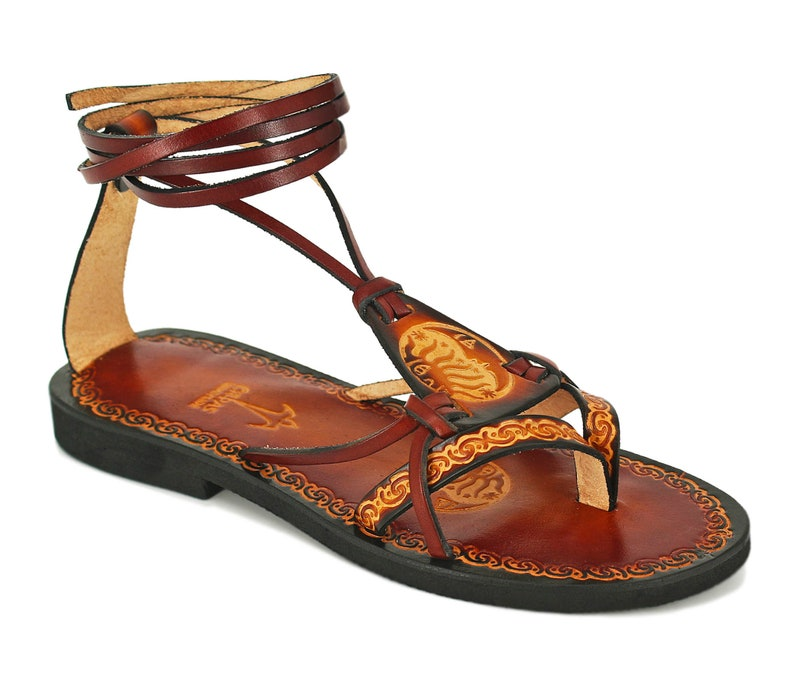 FANTASY woman summer flatscustom lace up sandalsboho hippie sandalsprinted and hand painted